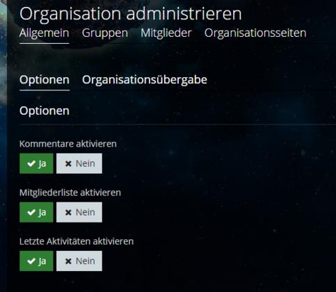 Organisationsseiten - deaktivieren