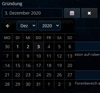 Organisation erstellen & bearbeiten - Gründungsdatum